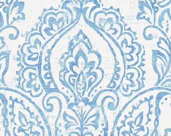 White and Blue Vintage Damask  Organic Fabric - By The Yard - Girl / Boy / Neutral