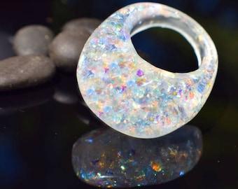 Magic Rainbow Resin Ring, Color Shifting Rings, Trending Fall Rings, Dichromagic Solar Rings, Sparkly Rings, Exclusively ResinHeavenUSA