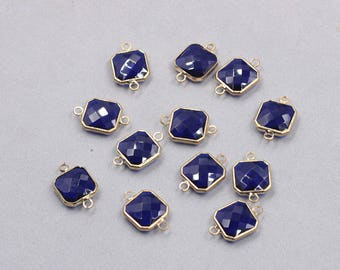 4 Pcs Faceted Crystal Bezel Connectors -- With Electroplated Gold Edge Charms Wholesale Supplies YHA-326-5