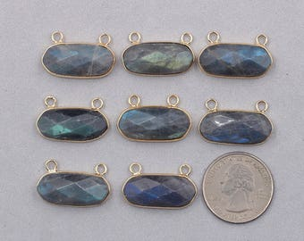 Faceted Labradorite Double Bails Pendants -- With Electroplated Gold Edge Charms Wholesale Supplies CQA-020