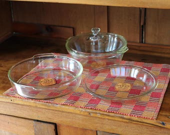 Rare Pyrex Clear Glass Bakeware/Cookware Set ~ 1920s-30s ~ Original Orange Labels ~ Pie Plate, Round Baking Dish/Cake Pan, Casserole & Lid