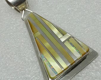 Large sterling silver pendant inlay  multi stones  from N. Coriz