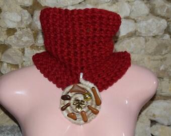 dark red collar snood
