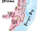 Illustrated Map of Miami, FL