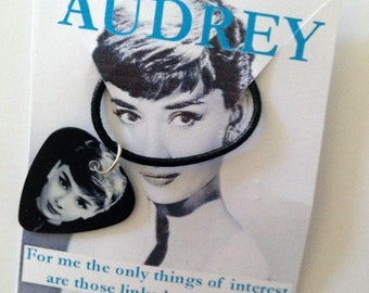 AUDREY HEPBURN Guitar Pick Necklace, Black Cord, Handmade, Lobster Claw Clasp, Cool Heart Music Movies Fashion Jewelry, Unisex