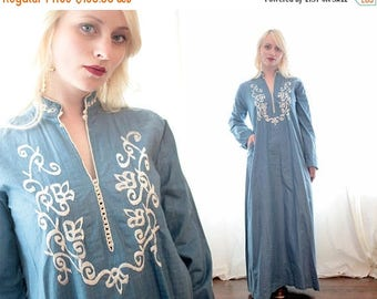 BIG SALE Vintage 1960s 1970s chambray Blue silk caftan dress embroidered ethnic middle Eastern inspired Longsleeve deep neck bohemian BoHo