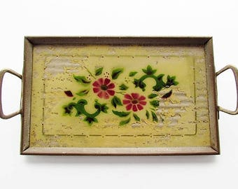 Antique Dresser Tray, Reverse Painted Dresser Tray, Vanity Tray, Wall Decor, Glass Framed in Metal Tray, Handled Tray