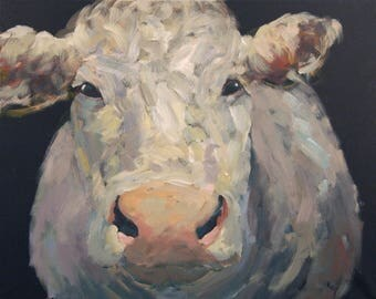 Cow Painting 16 x 20 Cow Art Original Farm Animal Painting of A Cow