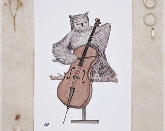 The Owl & Her Cello ~ A5 Art Print from Original Ink and Watercolour Painting