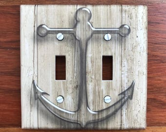 Nautical anchor rustic light switch plate cover wood brown // Nautical Anchors // Nautical nursery  SAME DAY SHIPPING !! **
