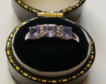Tanzanite and Diamond White Gold Ring