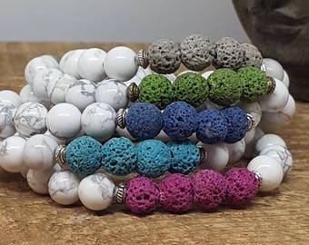Mala Beads, Mala Bead Bracelet, Howlite Gemstone Bracelet, Healing Crystals, Essential Oil Diffuser Bracelet, Yoga Bracelet