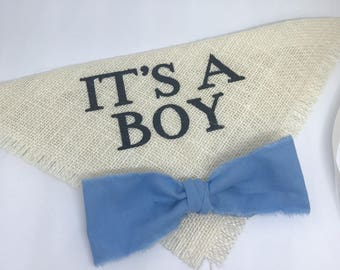 It's a Boy Dog Bandana Ivory Burlap Collar with Fabric Bowtie for Pregnancy Announcements Newborn Photo Shoot