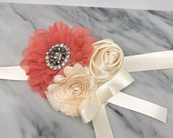 Coral Pink and Ivory Wedding Flower Wreath Dog Collar with Lace Flower Pearls Rhinestones Wedding Bridal Sash