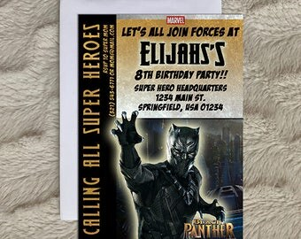 Black Panther Birthday Party Invitation - Black Panther - Invitation - Black Panther Party - Boy Birthday Party