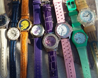 Vintage 1980s Watch Lot - Jelly and Leather Bands