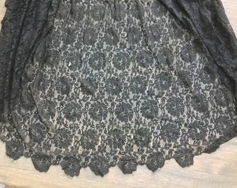 Antique  victorian black lace skirt gathered lacey