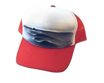 Surf art hand painted red Cap