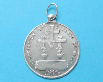 French, Antique Religious Sterling Pendant. Saint Virgin Mary, Jesus Christ, Sacred Heart. Miraculous Silver Medal. 170724 4 E