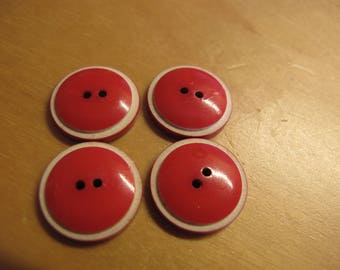 4  red and white Bakelite  buttons 1940's pretty 16 mm 160617/12