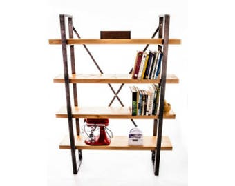 Sycamore wood and raw steel metal bookcase display industrial shelving