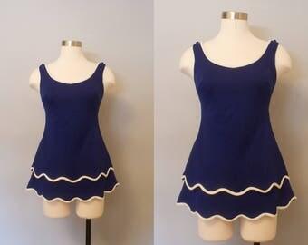 Sandcastle 1960s Swim Suit /  Navy Blue Swimsuit / Vintage Bathing Suit