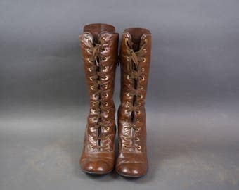 Vintage Elastomere France Brown Leather Womens Boots / Size 38.5 / 7.5