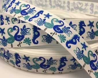 "3 yards 7/8"" glitter Flamingo Starfish grosgrain ribbon"