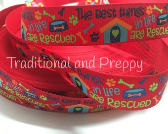 "3 yards 7/8"" Rescue Dog Puppy Bone grosgrain ribbon"