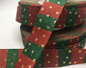 "3 yards 7/8"" Christmas red and green with gold metallic grosgrain"