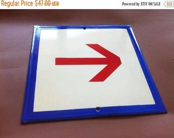 SALE Vintage Enamel Sign Porcelain - Red Arrow Rare Three Colors This Way 1970's