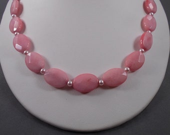 Pink Opal Quartz Necklace and Earring Set
