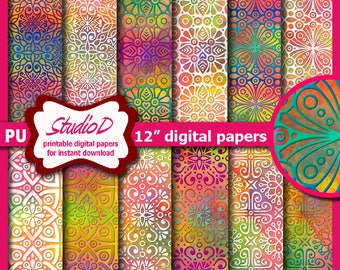 Moroccan ornamental digital Paper Set, Rainbow digital paper, Decorative ethnic patterns, Scrapbook paper, Card making, Instant download