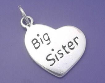 BIG SISTER HEART Charm .925 Sterling Silver Pendant - lp3106