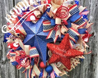 REDUCED! SALE! 4th of July Deco Mesh Wreath, July 4th Wreath, Americana Wreath, Patriotic Deco Mesh Wreath, emorial Day Wreath