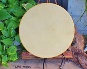 """12"""" Deer Hide Hand Drum Native American Made William Lattie Cherokee comes w/ Certificate of Authenticity FREE US SHIPPING"""