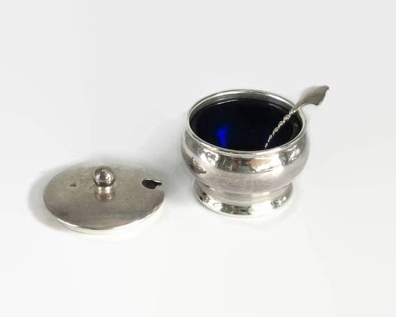 Silver plated salt cellar with blue glass insert, lid, spoon, Imperial by Phoenix, made in Australia, mid 20th century