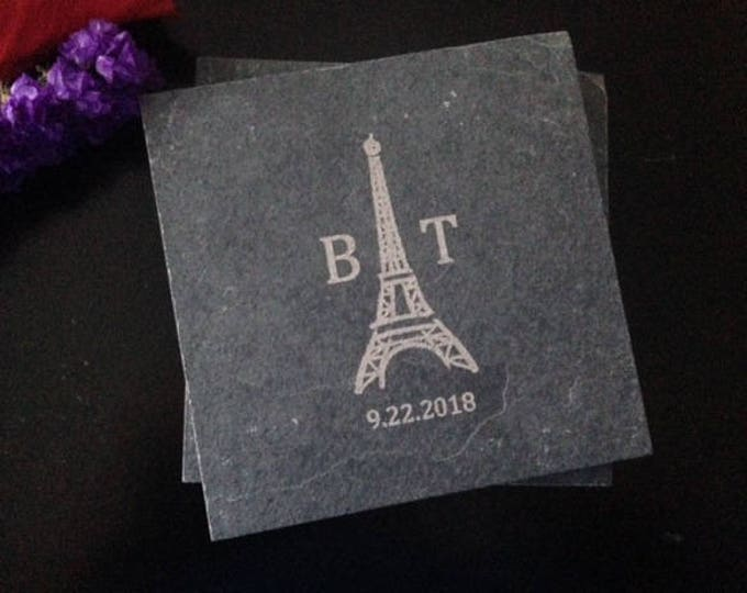 Personalized Slate Coasters - Eiffel Tower Gift, Eiffel Tower Wedding Gift, Eiffel Tower Engagement Gift, Personalized Wedding Favor,