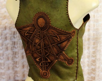 Wood elf leather waistcoat