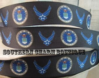 3 yards of 7/8 Air Force military grosgrain ribbon