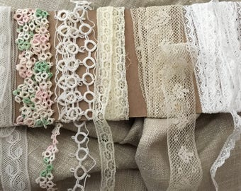 Vintage 1920s Lace Trim - 5 Assorted 1 1/4 yard pieces - inset, border tatting -OSB