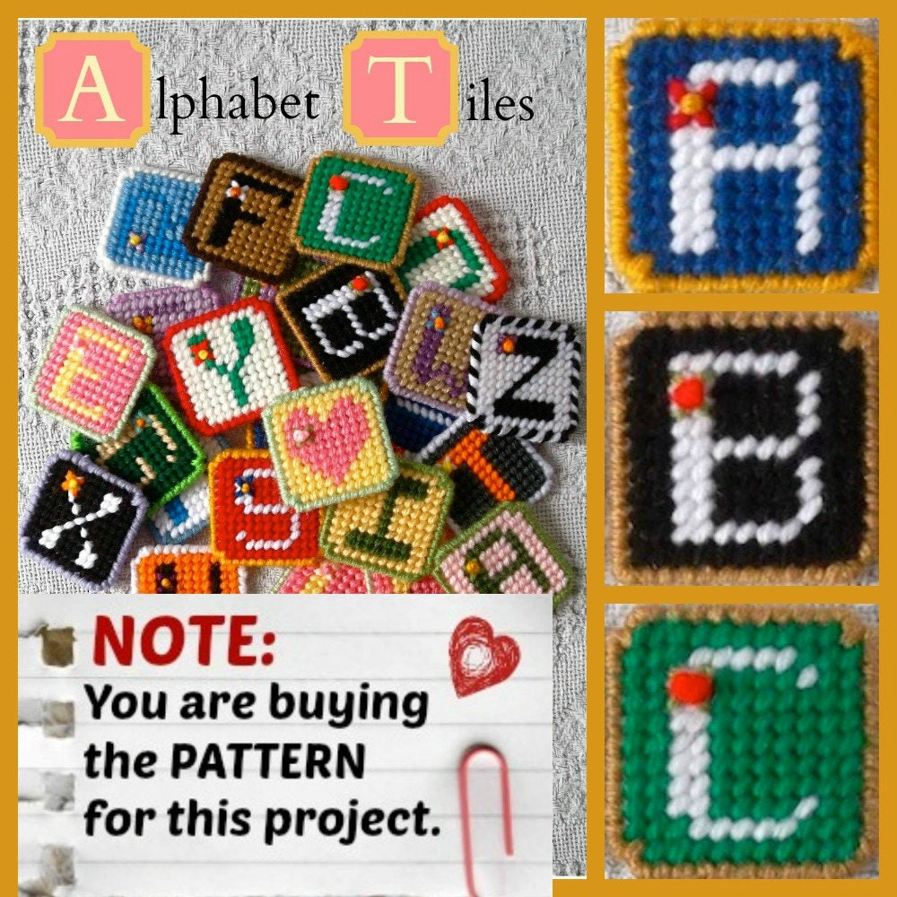 Plastic Canvas Pattern: Alphabet Tiles 26