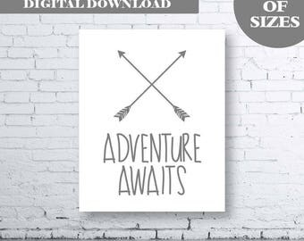 Adventure Awaits Printable Wall Art.  Inspirational Quote. Typography Art. Adventure Quote Art. Grey and White Wall Art. Modern Wall Art.