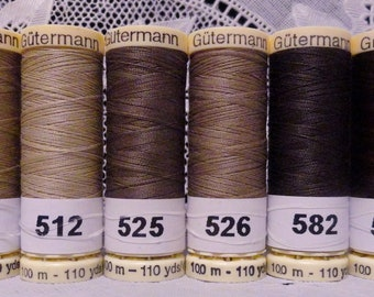 6 different tan brown colors GUTERMANN 100% polyester thread 110 yard spools