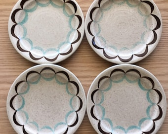 Red Wing Two Step bread and butter plates set of 4 made 1959-60 marked 020