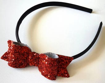 Red hairband, glitter hairband, Girls hairband, Red hair bow, adult hairband, fancy dress hair accessories, snow white bow, glitter hair bow