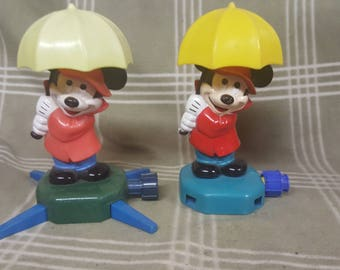 Pair of Vintage Mickey Mouse Sprinklers. Singing in the Rain. Umbrella.