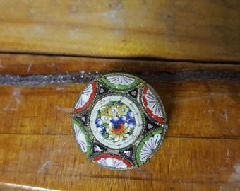 Gorgeous Vintage Micro Mosaic Floral Brooch Pin Made in Italy