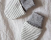 Organic Baby Mittens / Heather Gray Stripe & Gray No Scratch Infant Mitts