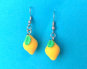 "Femme Foodie Collection ""Lovely Lemon"" Yellow Lemon Drop Dangle  Earrings"